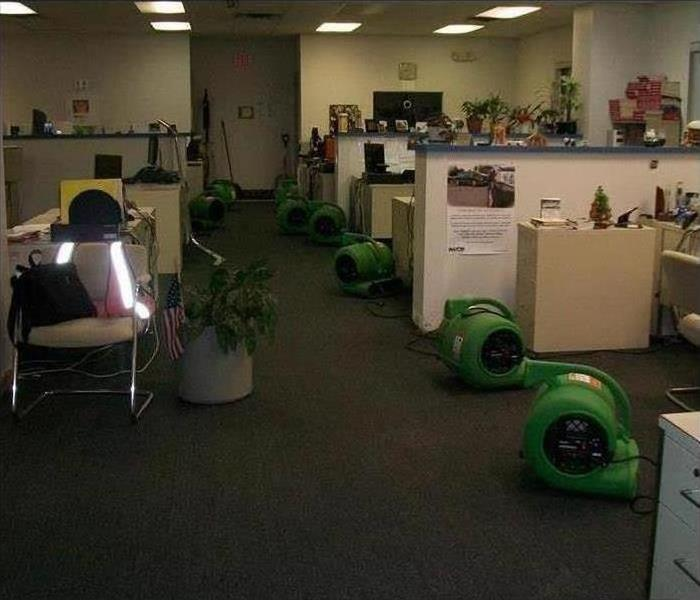 Office covered with air movers